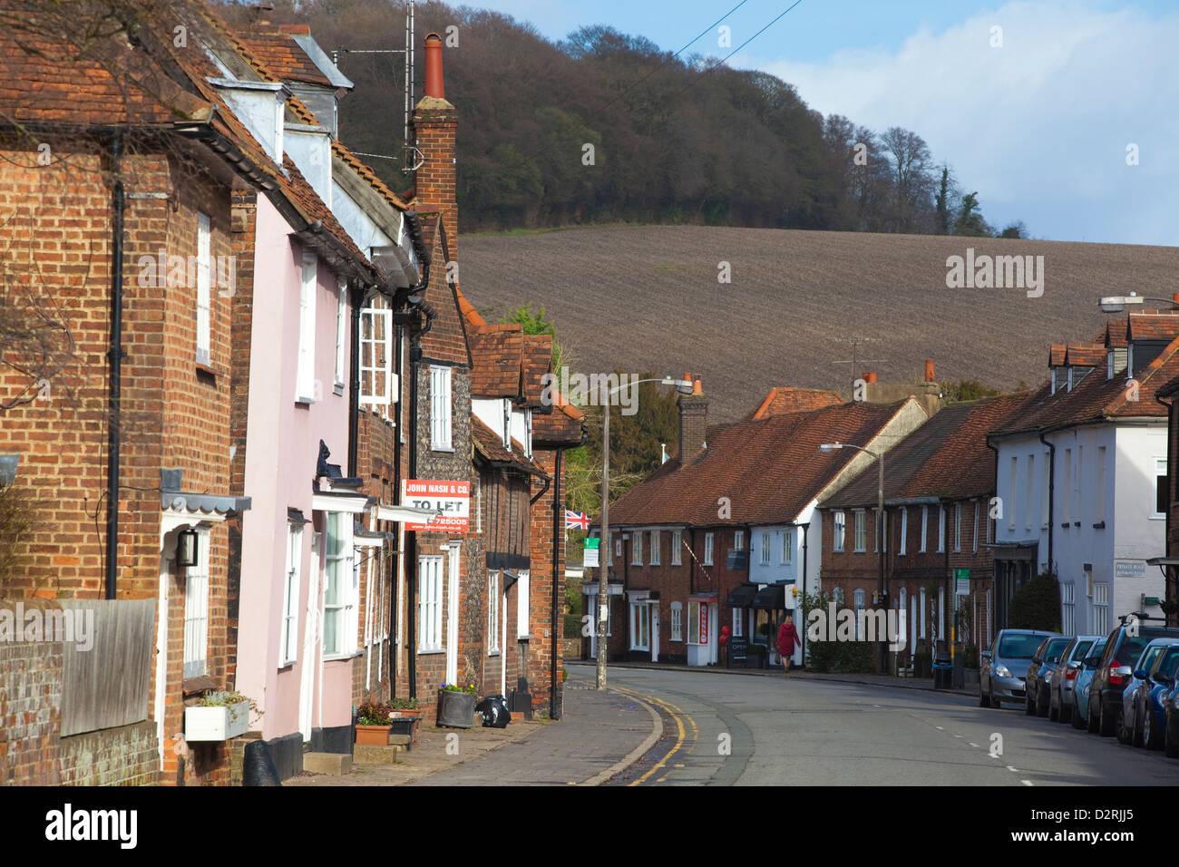 Houses along Whielden Street, Old Amersham, the Chilterns, Buckinghamshire, England, UK - Stock Image