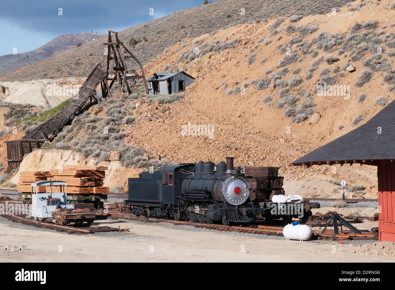 USA, Nevada. Old steam locomotive at historic Gold Hill train station, our side Virginia City, Nevada. - Stock Image