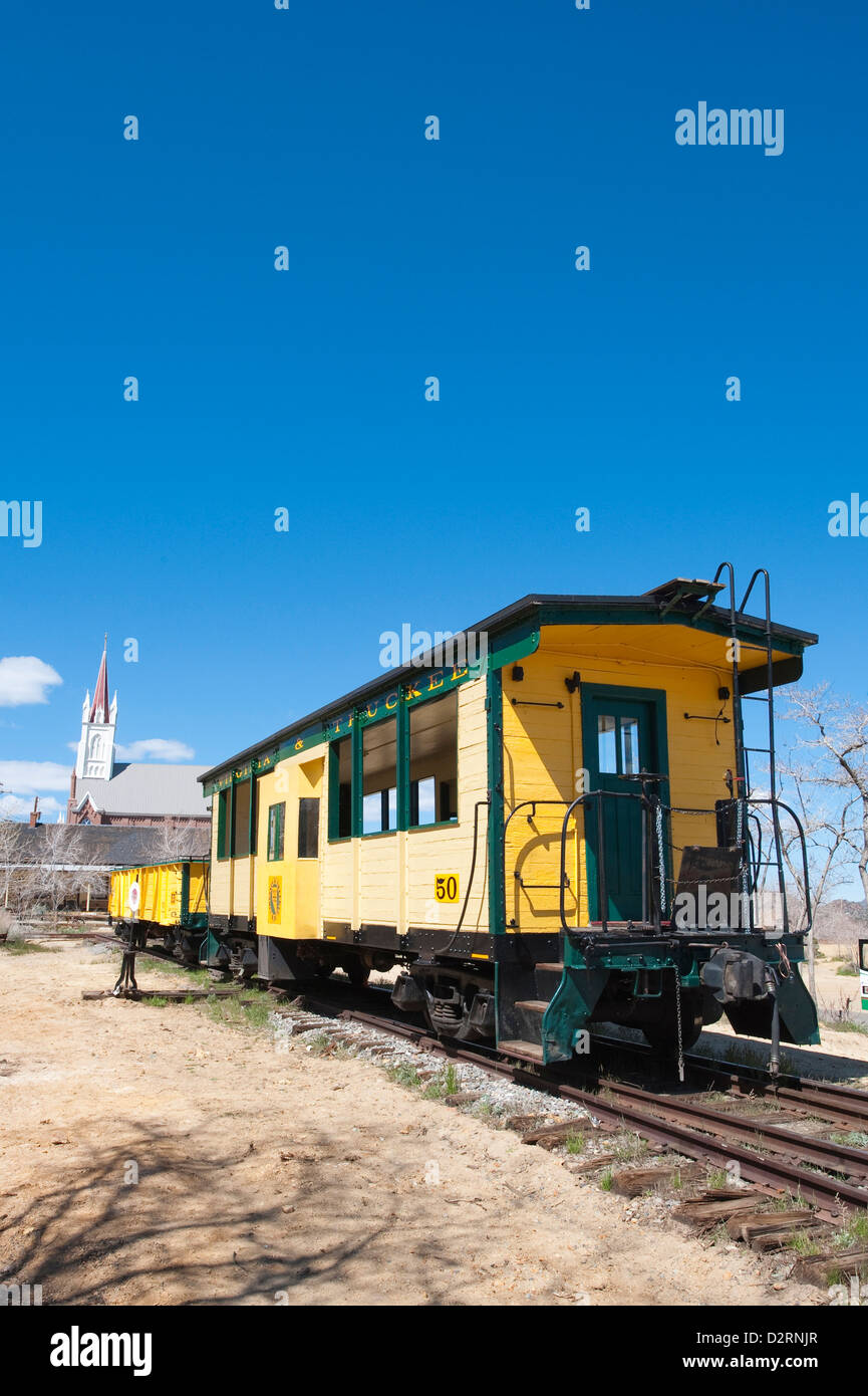 USA, Nevada. Old steam train engine in historic Gold Hill train station, our side Virginia City, Nevada. - Stock Image