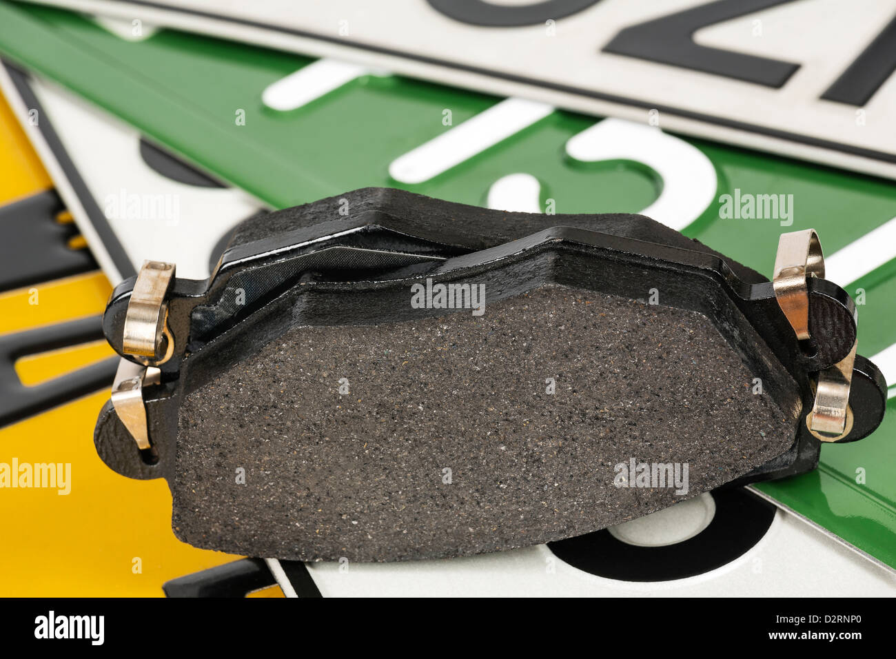 Brake pads and license plates - Stock Image