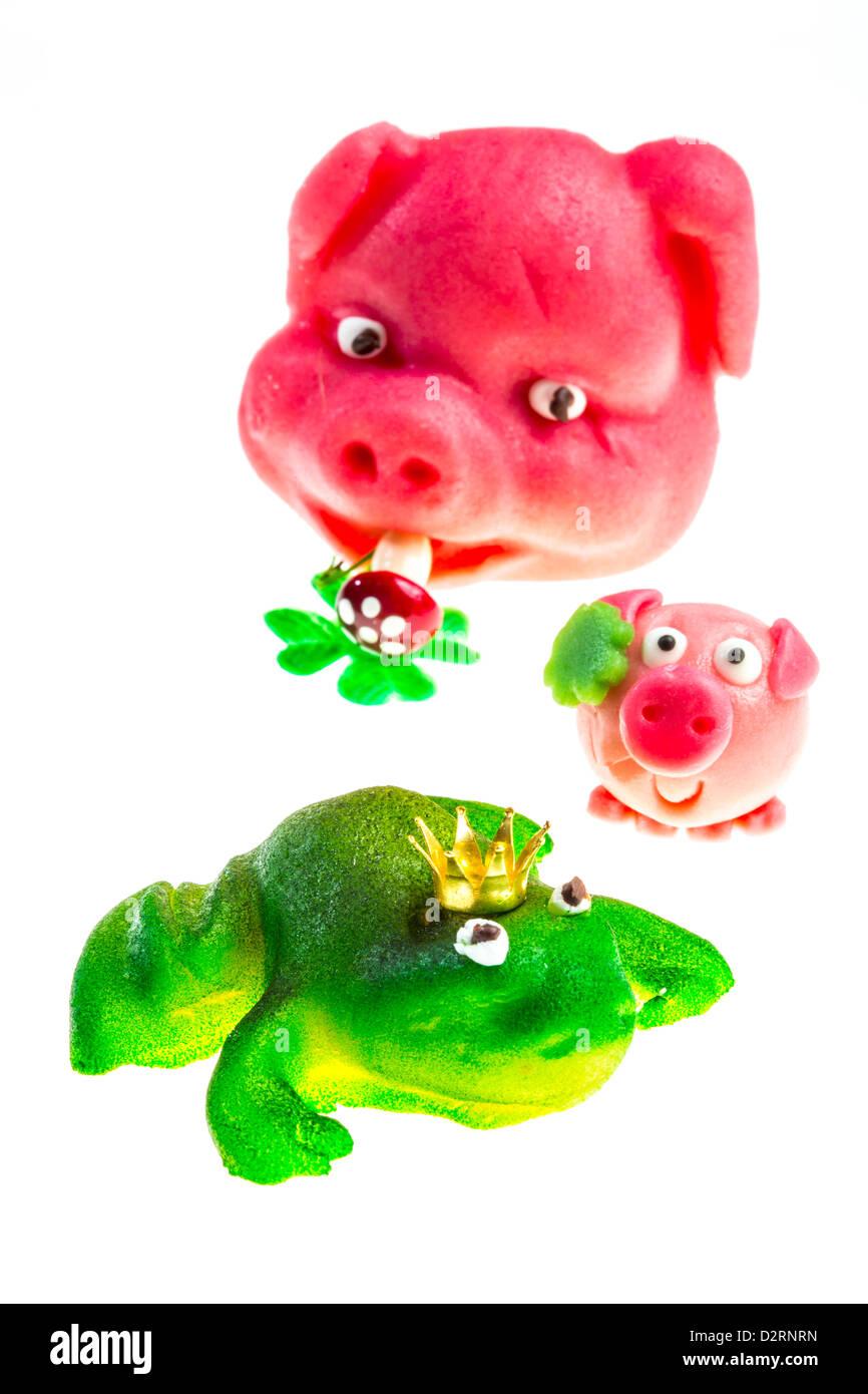 Little Marzipan Figures Pink Pork Face Green Frog King Lucky