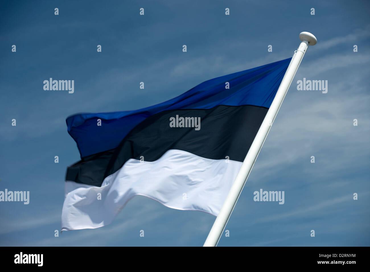 ESTONIAN FLAG FLYING ON FLAGPOLE - Stock Image