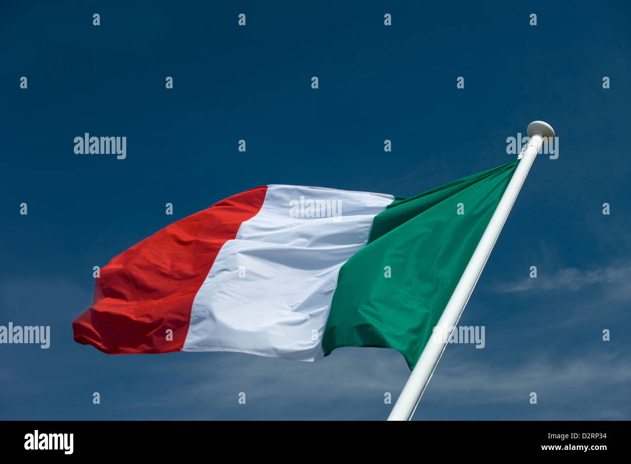 ITALIAN FLAG FLYING ON FLAGPOLE - Stock Image