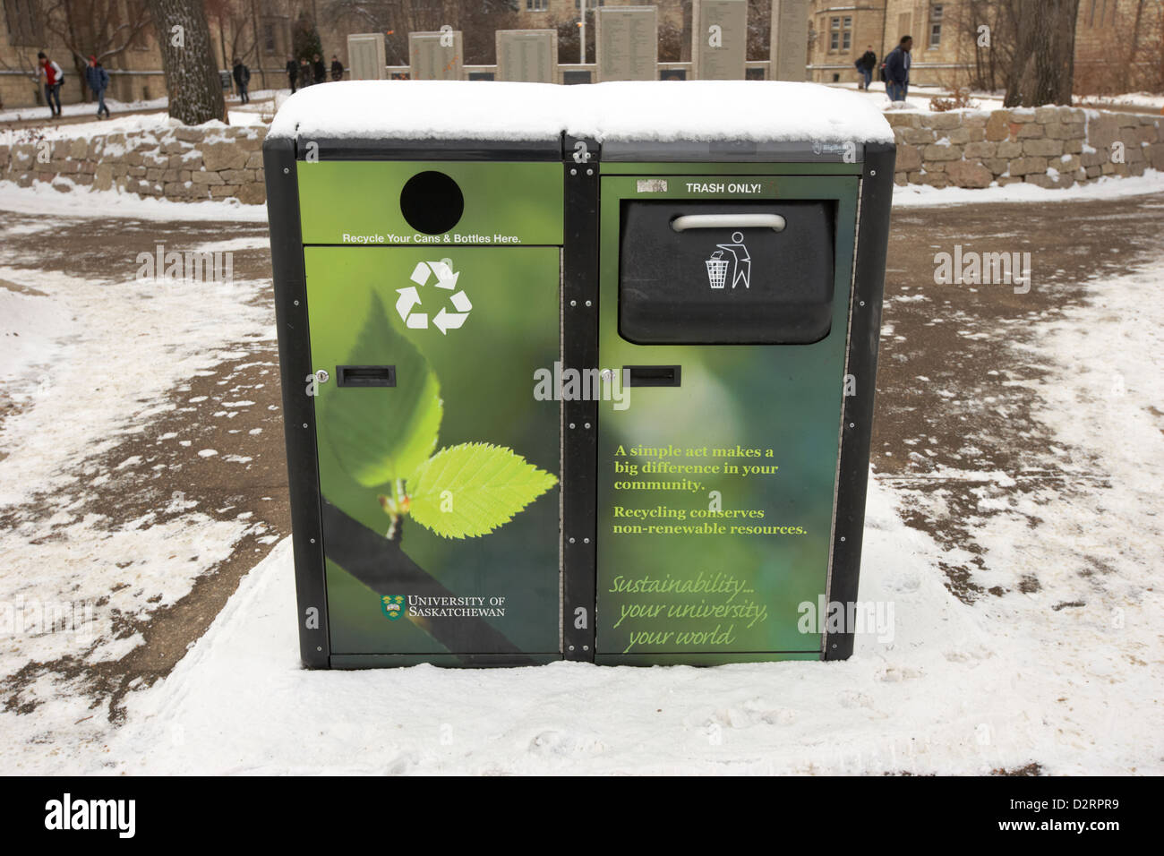 solar powered trash bin covered in snow university of Saskatchewan Saskatoon Canada - Stock Image