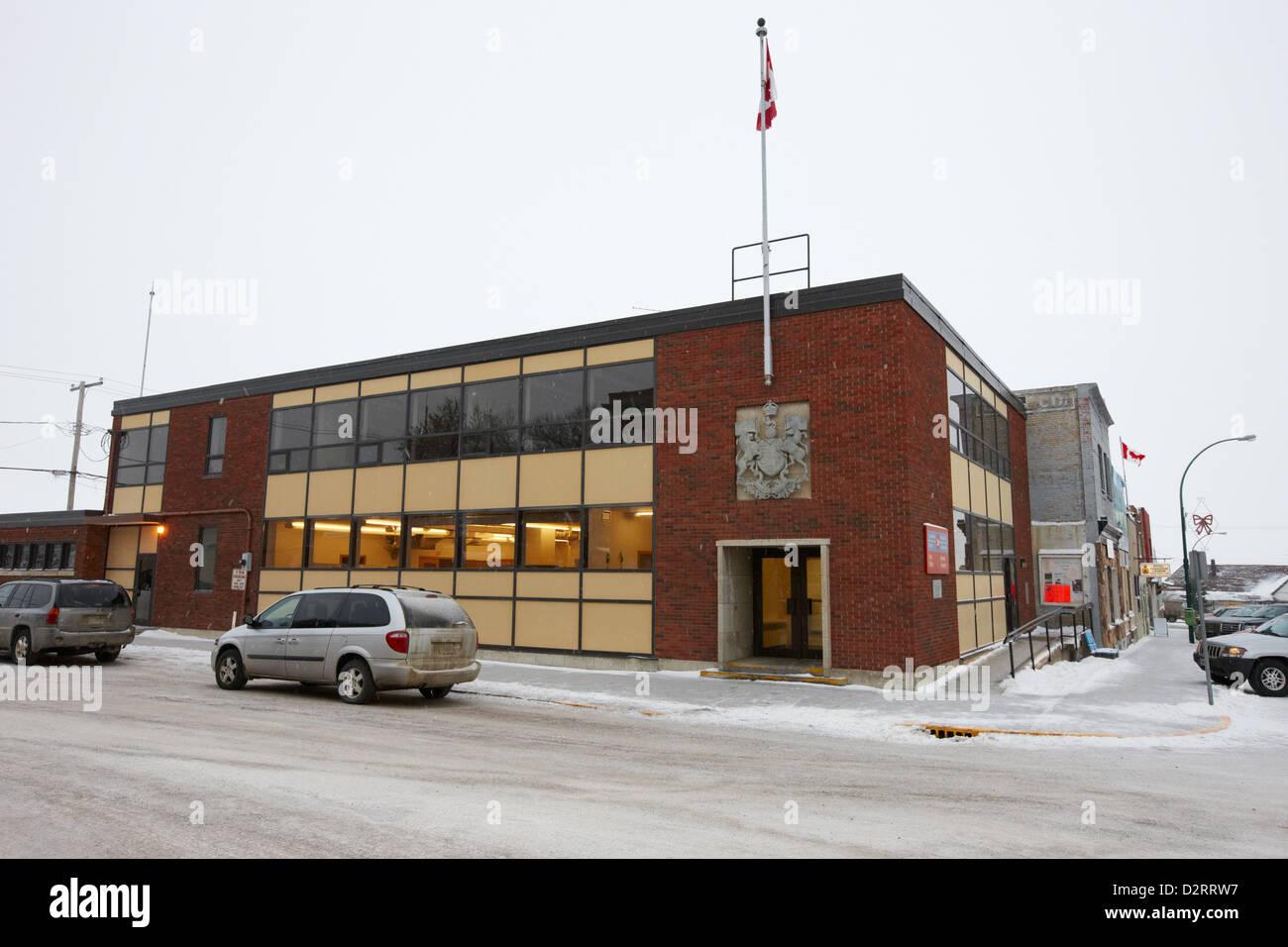 the post office building Biggar Saskatchewan Canada - Stock Image