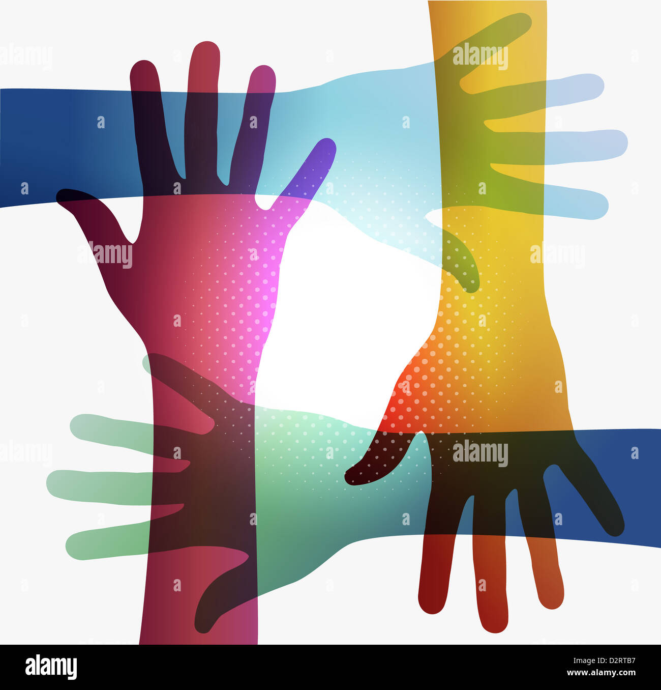 Diversity transparent hands on white background. EPS 10 vector illustration, cleanly built grouped and ordered in - Stock Image