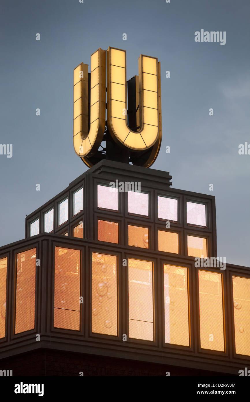 Dortmund, Germany, Dortmund U with changing light and film productions - Stock Image