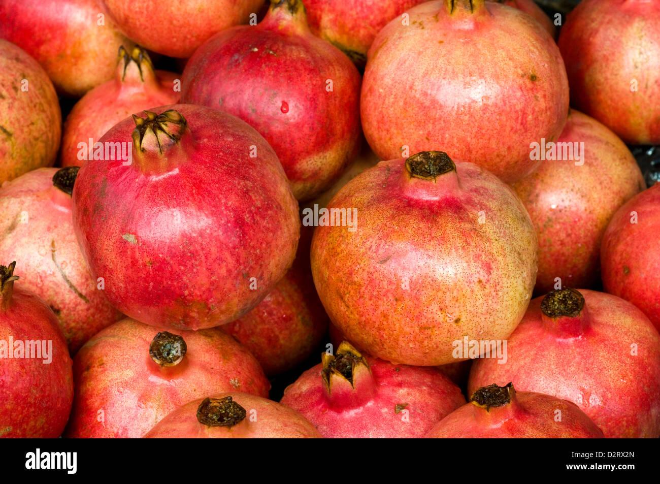 pomegranates, port louis, mauritius Stock Photo