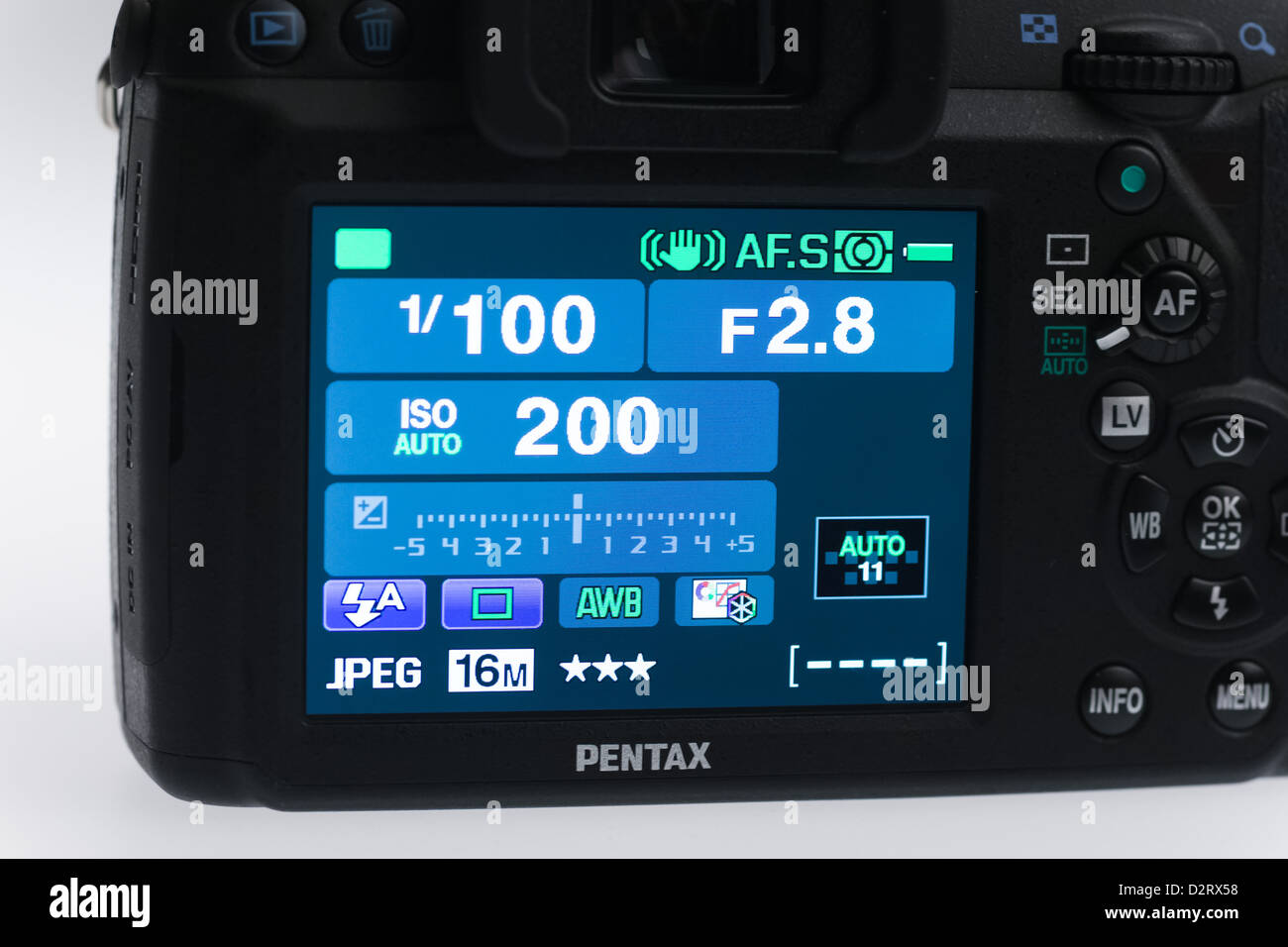 Pentax K5IIs digital SLR - rear screen with graphical user interface - Stock Image