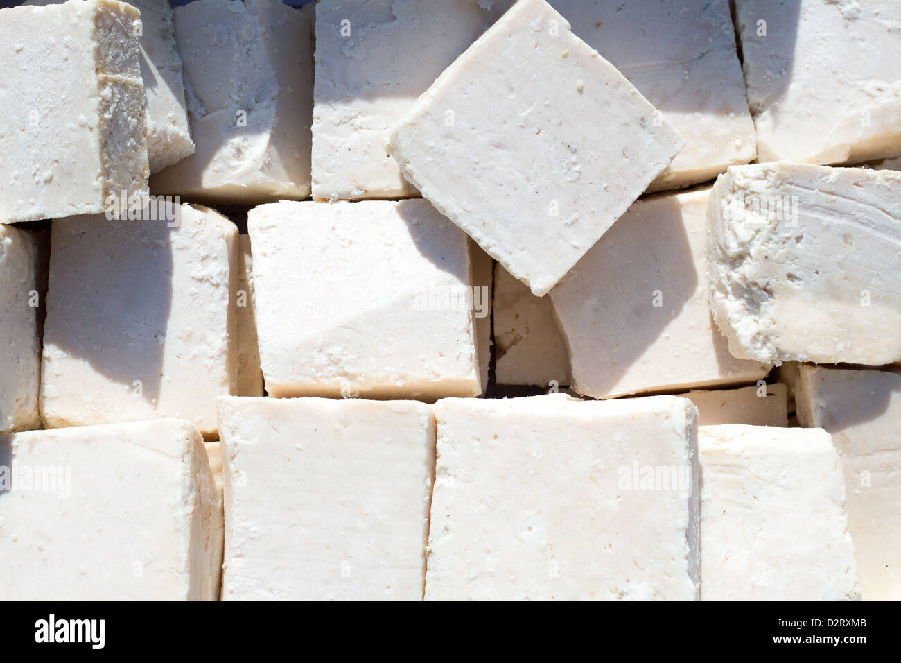 traditionally manufactured soap win white cubes pattern texture - Stock Image