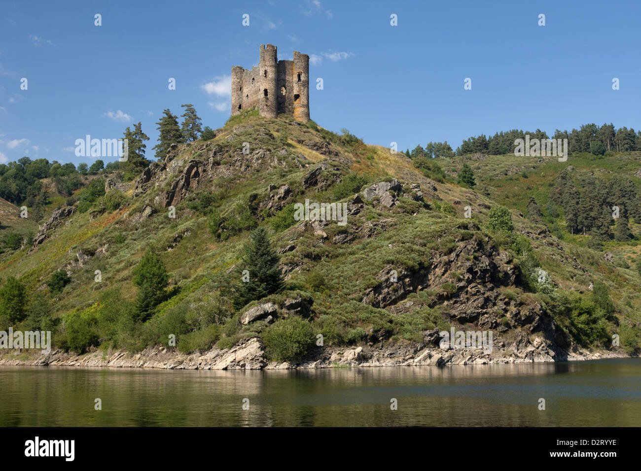 Alleuze Chateau Ruins Barage De Granval Cantal Auvergne France Stock Photo  53387250