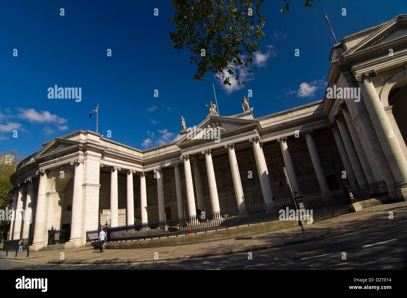 Horizontal panoramic view of the Irish Houses of Parliament, Tithe na Parlaiminte, in Dublin. Stock Photo