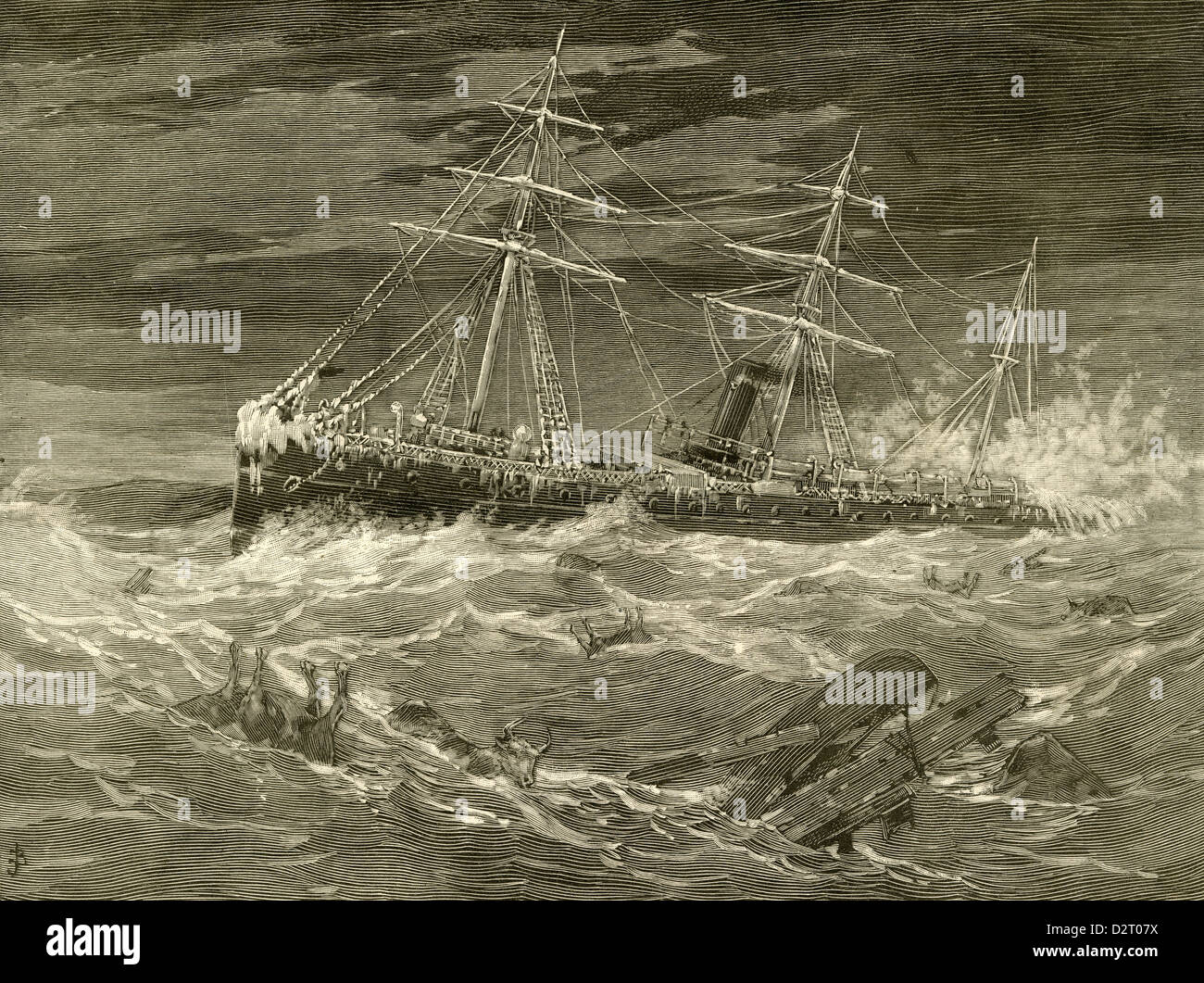 1890 engraving, The Late Terrible Storms on the Atlantic - An Ocean Steamer Passing Through a Mass of Wreckage. - Stock Image