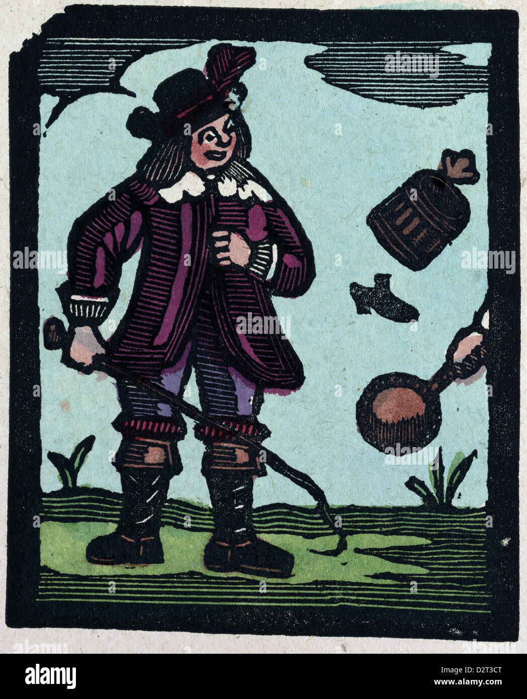 illustration of English tales folk tales and ballads. A man wearing a purple dress - Stock Image