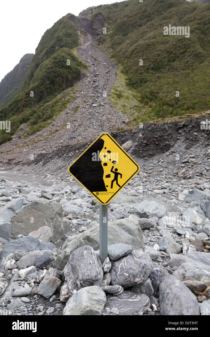 Warning sign at Fox Glacier, Southern Island, New Zealand - Stock Image