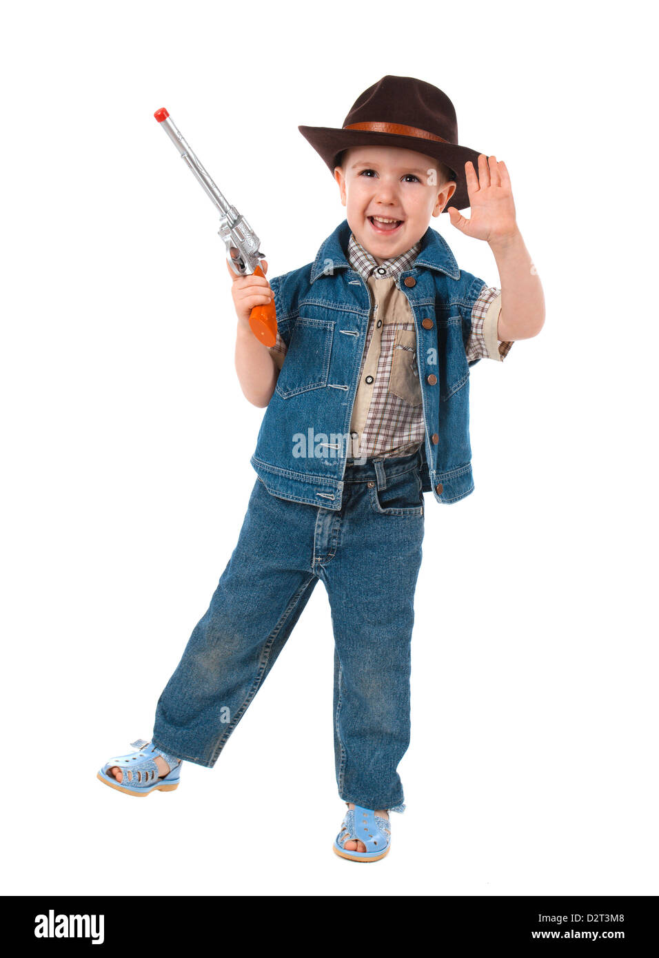 27d2b7a6cb828 little boy wearing a cowboy hat a over white background Stock Photo ...