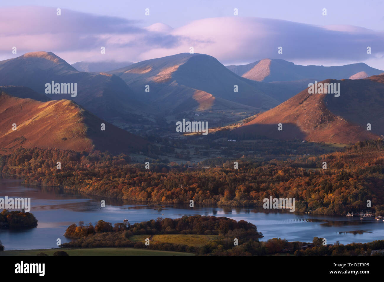 View over Derwentwater of Newlands Valley near Keswick, Lake District National Park, Cumbria, England, United Kingdom, - Stock Image