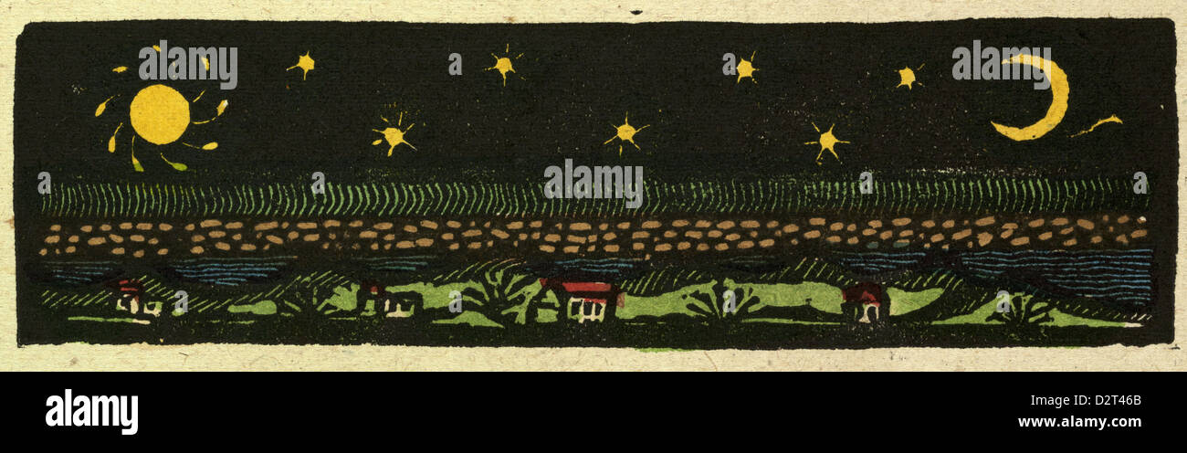 illustration of English tales folk tales and ballads. - Stock Image