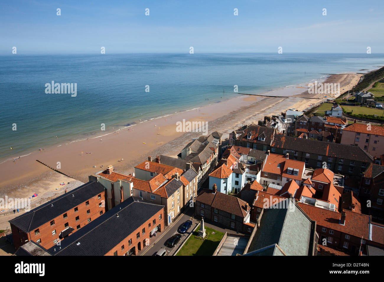 The Beach from St. Peter and St. Paul Church Tower, Cromer, Norfolk, England, United Kingdom, Europe - Stock Image