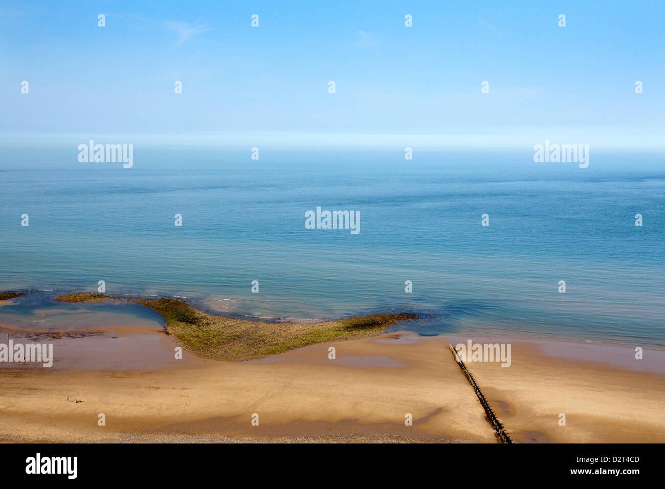 Quiet Beach between Cromer and Overstrand, Norfolk, England, United Kingdom, Europe - Stock Image