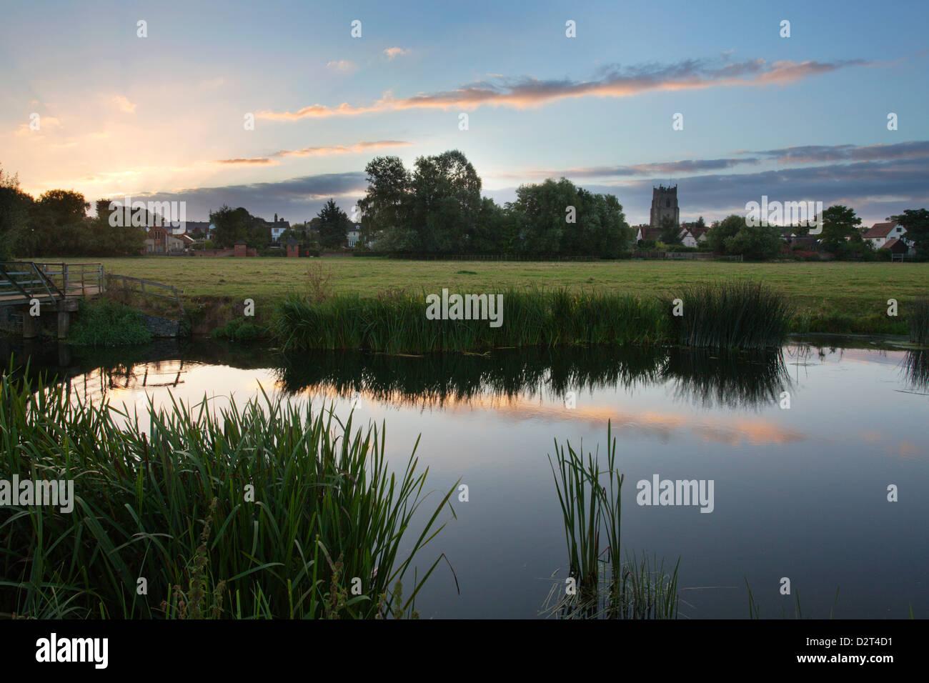 Sudbury Water Meadows at dawn, Sudbury, Suffolk, England, United Kingdom, Europe - Stock Image