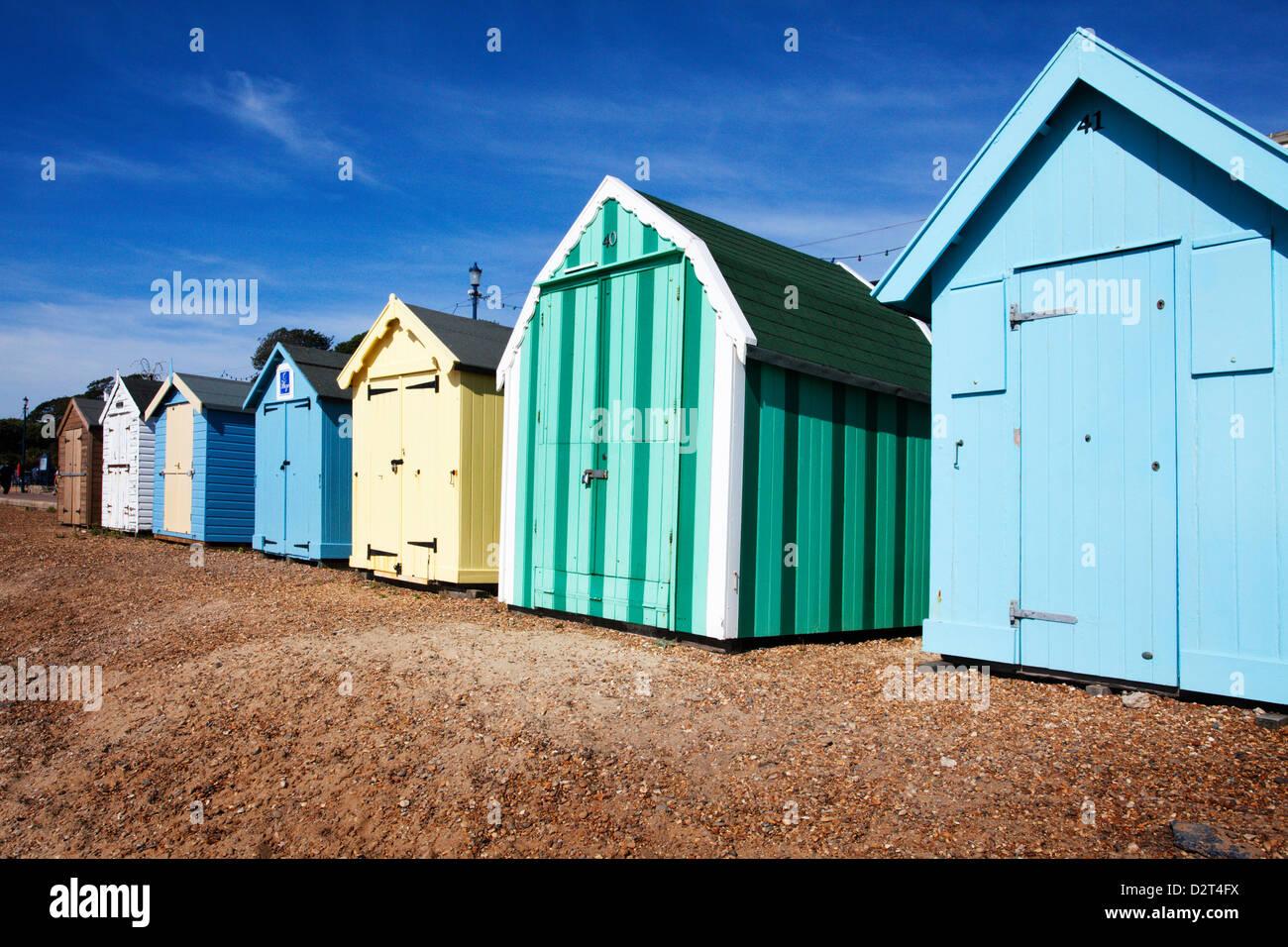 Beach huts at Felixstowe, Suffolk, England, United Kingdom, Europe - Stock Image