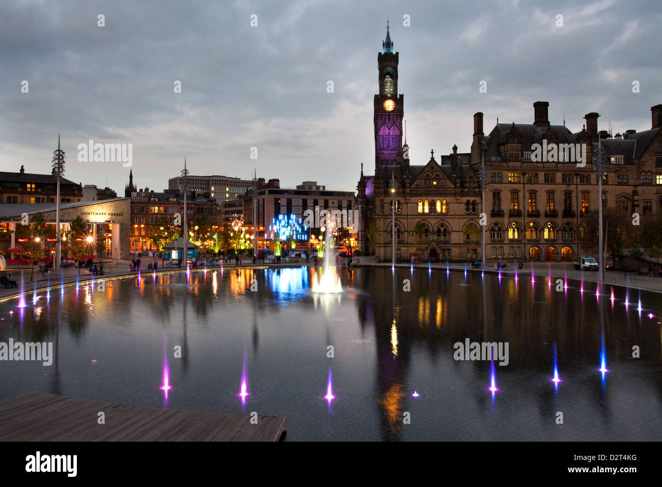 Bradford City Park and Garden of Light Display in Centenary Square, Bradford, West Yorkshire, Yorkshire, England, - Stock Image