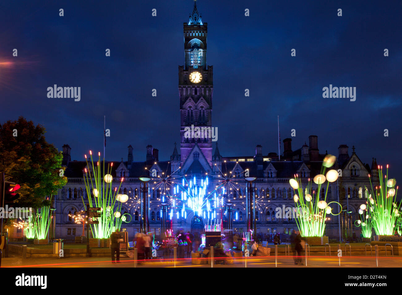 City Hall and Garden of Light Display in Centenary Square, Bradford, West Yorkshire, Yorkshire, England, United - Stock Image