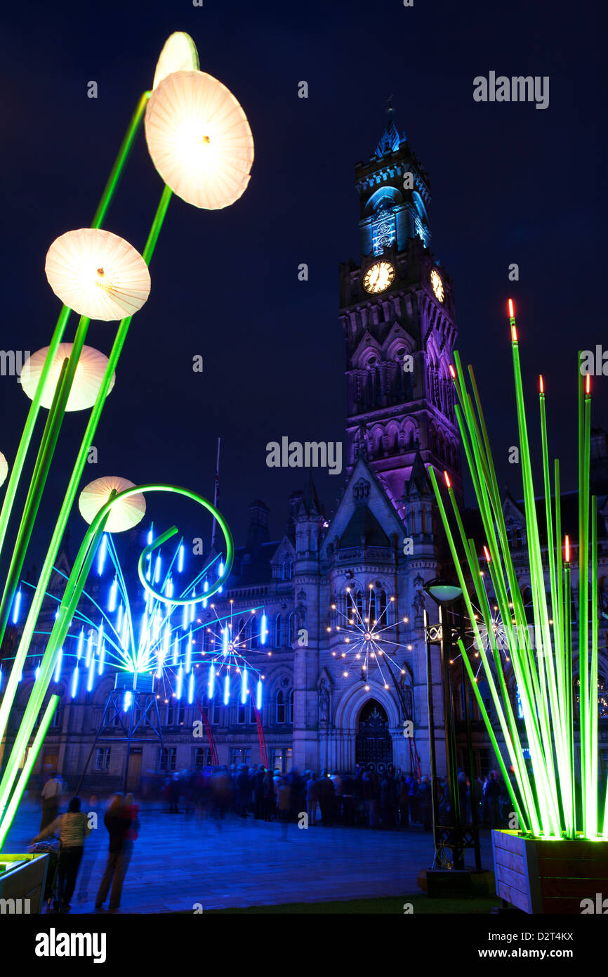 Bradford Garden of Light Display in Centenary Square, Bradford, West Yorkshire, Yorkshire, England, United Kingdom, - Stock Image