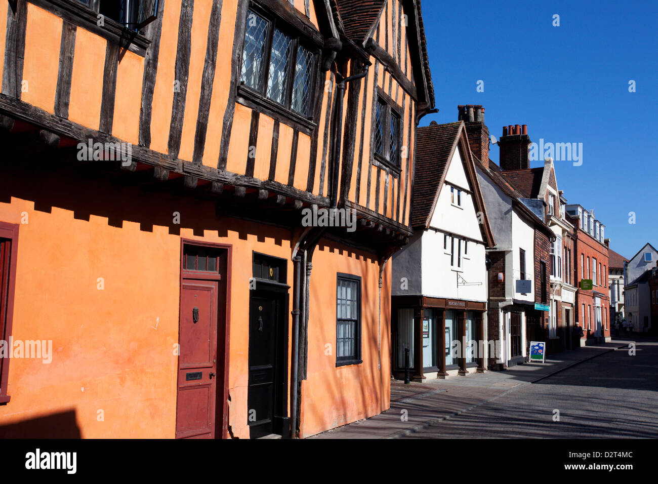Half timbered buildings on Silent Street, Ipswich, Suffolk, England, United Kingdom, Europe - Stock Image