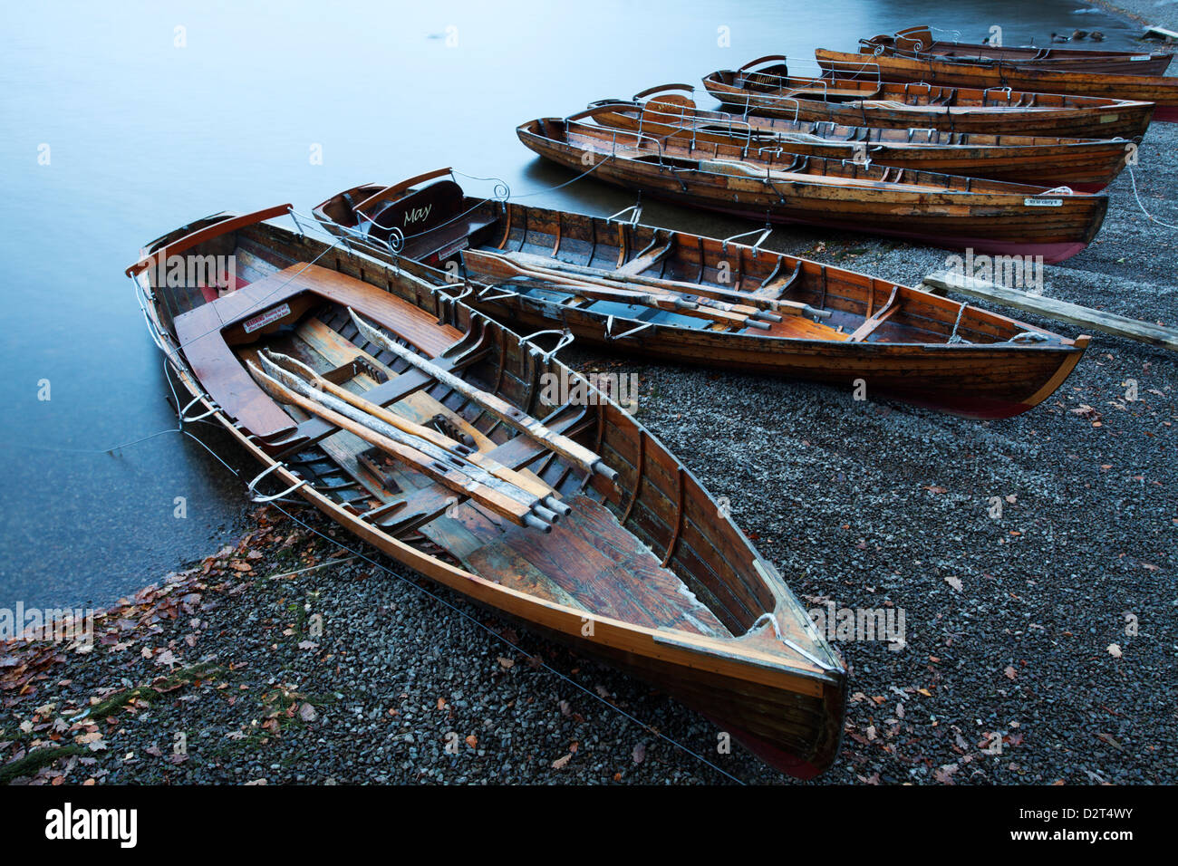Rowing boats on the Lakeshore, Derwentwater, Keswick, Lake District National Park, Cumbria, England, United Kingdom, Stock Photo