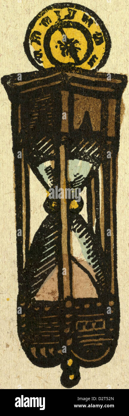 illustration of English tales folk tales and ballads. An hourglass - Stock Image