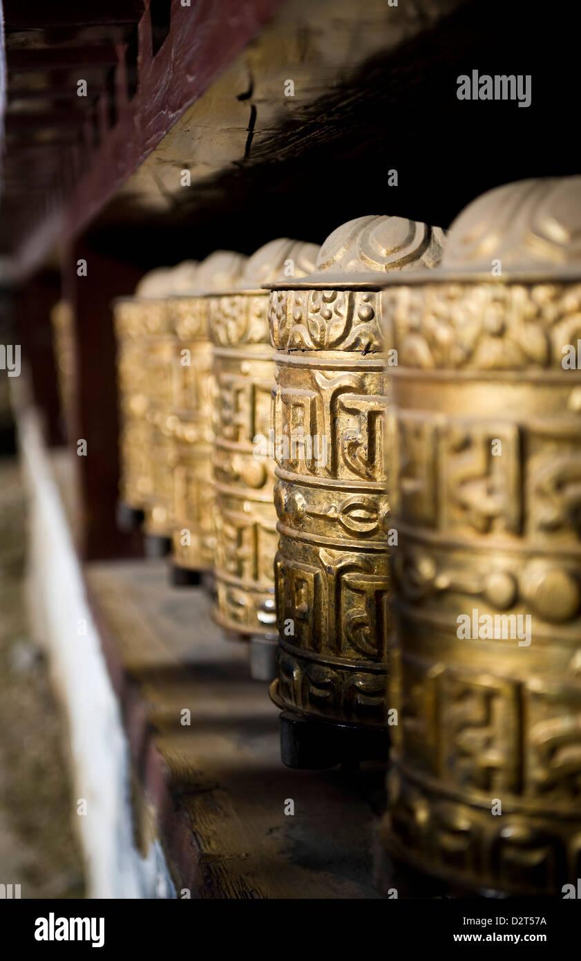 Buddhist prayer wheels, Namche Gompa (Monastery), Namche Bazaar, Solu Khumbu Region, Nepal, Himalayas, Asia - Stock Image