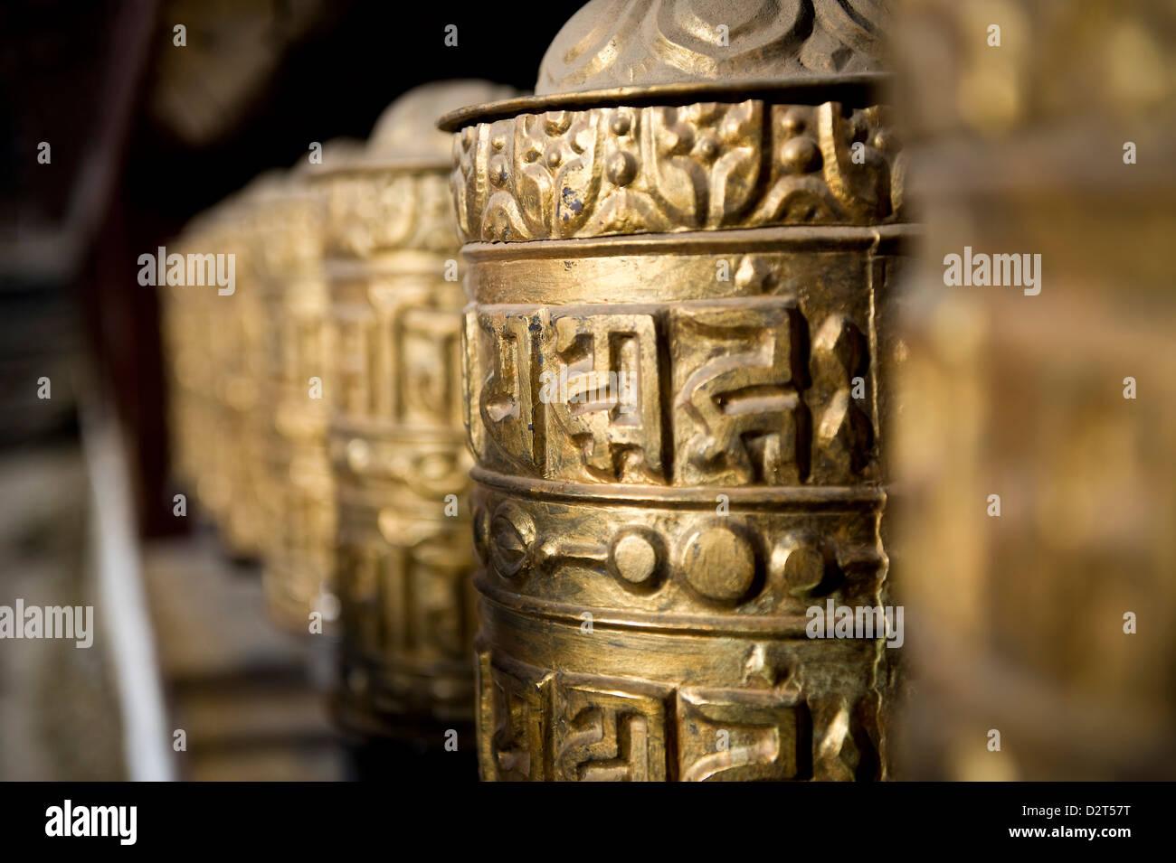 Buddhist prayer wheels, Namche Gompa (Monastery), Namche Bazaar, Solu Khumbu Region, Nepal, Asia Stock Photo