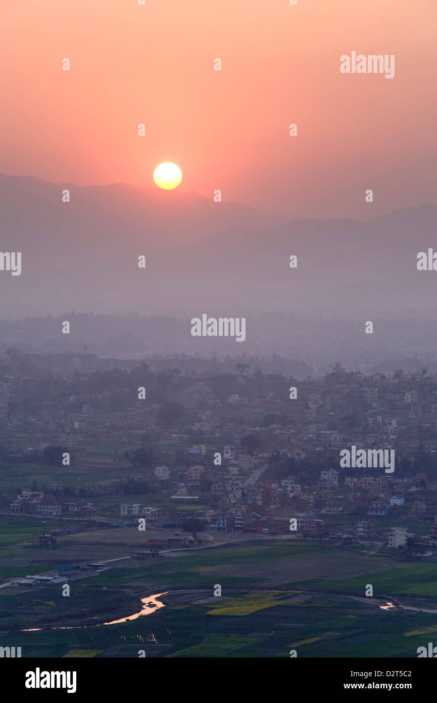 Sunset over Kathmandu, Nepal, Asia - Stock Image