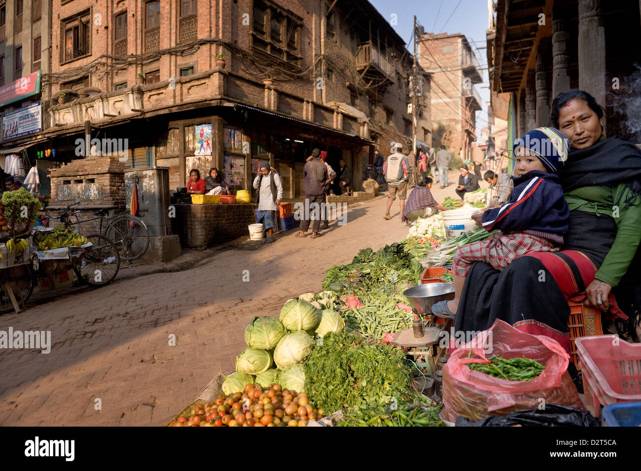 Vegetable seller, Bhaktapur, Nepal, Asia - Stock Image