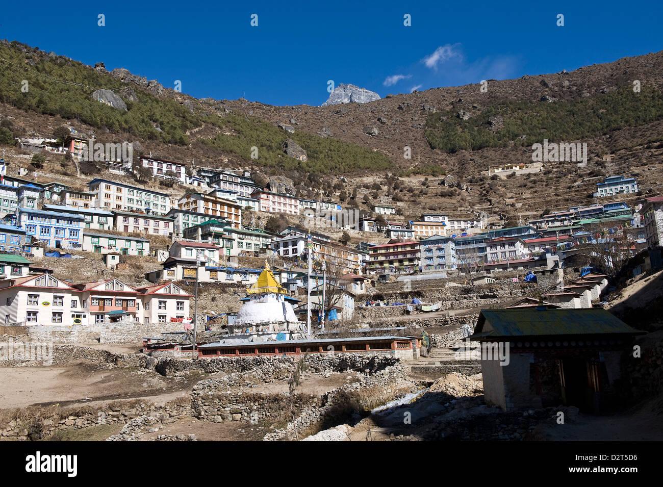 Namche Bazaar, Solu Khumbu Region, Nepal, Himalayas, Asia - Stock Image