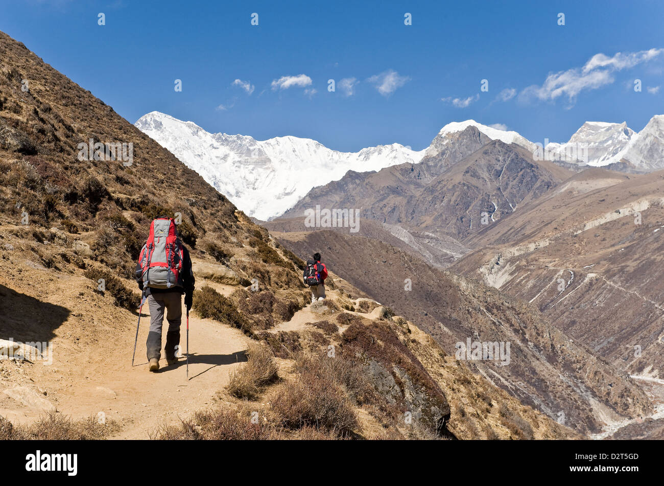 Trekkers in Dudh Kosi Valley, Solu Khumbu (Everest) Region, Nepal, Himalayas, Asia - Stock Image