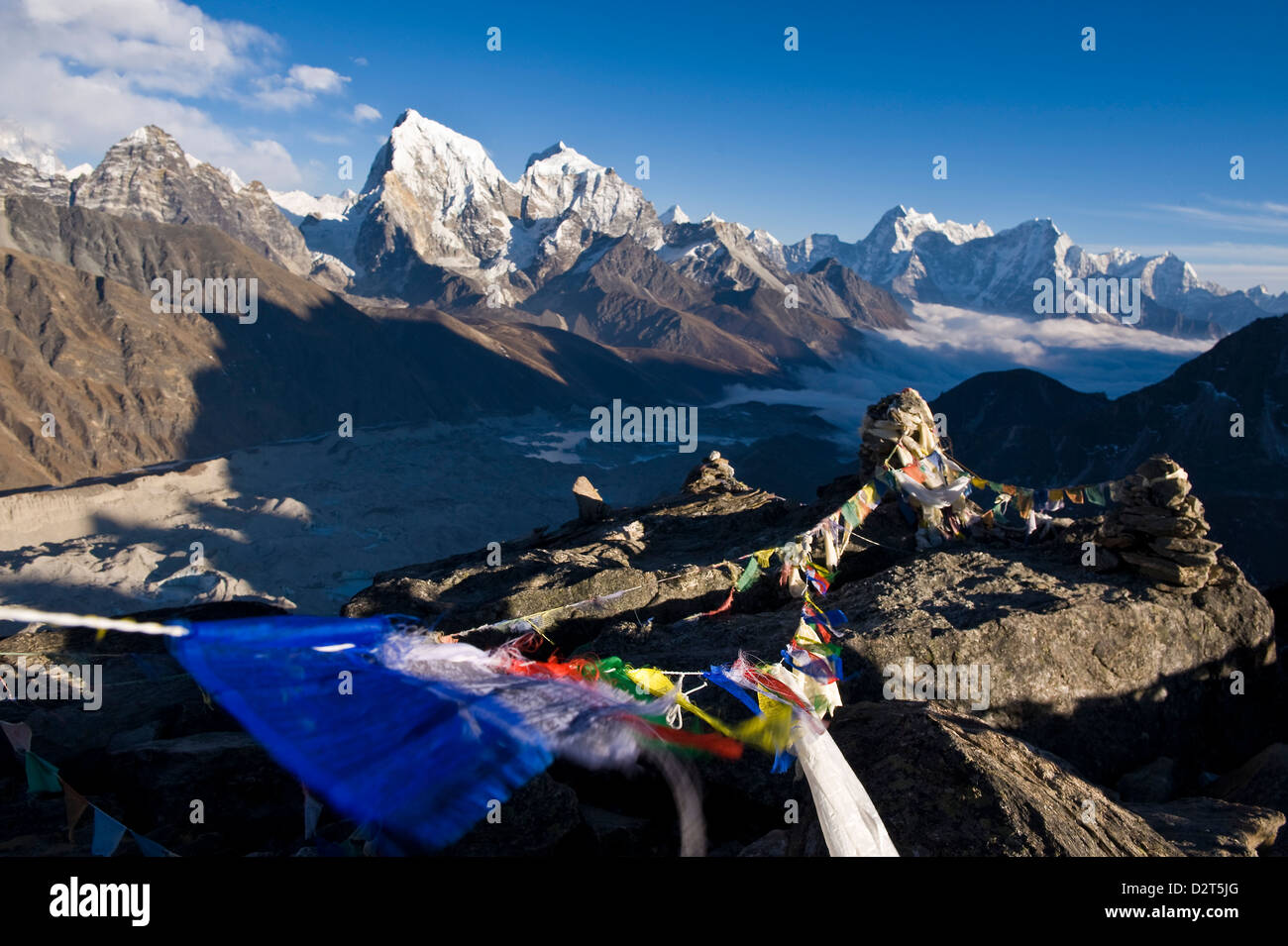 View from Gokyo Ri, 5300 metres, Dudh Kosi Valley, Solu Khumbu (Everest) Region, Nepal, Himalayas, Asia - Stock Image
