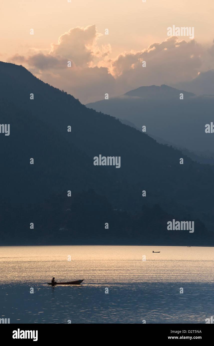Phewa Tal Lake, Pokhara, Western Hills, Nepal, Himalayas, Asia - Stock Image