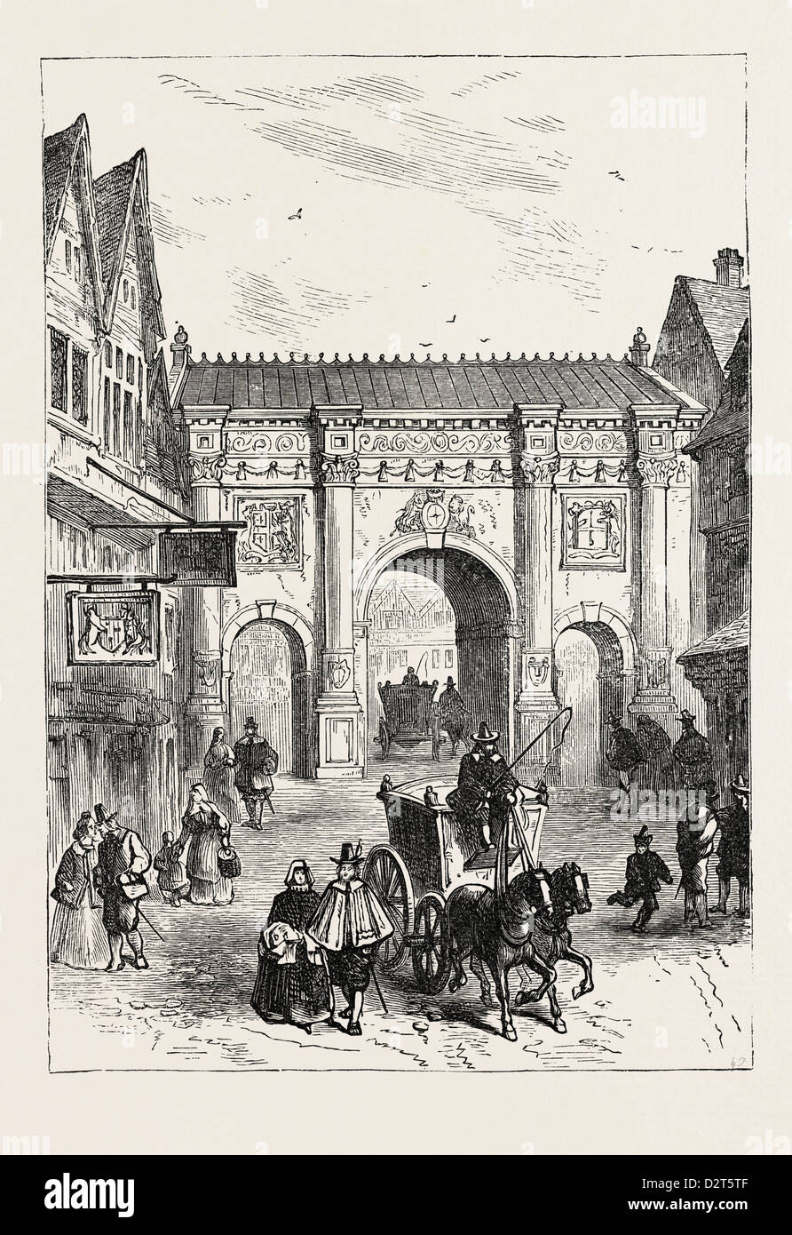 THE OLD WOODEN TEMPLE BAR As Erected in the Reign of James I. LONDON - Stock Image