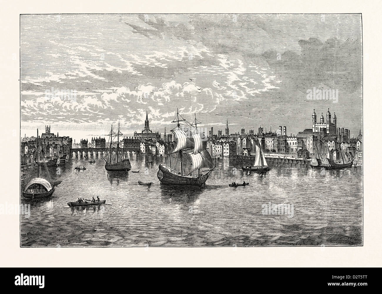 SOUTH-EAST VIEW OF LONDON IN 1550. - Stock Image