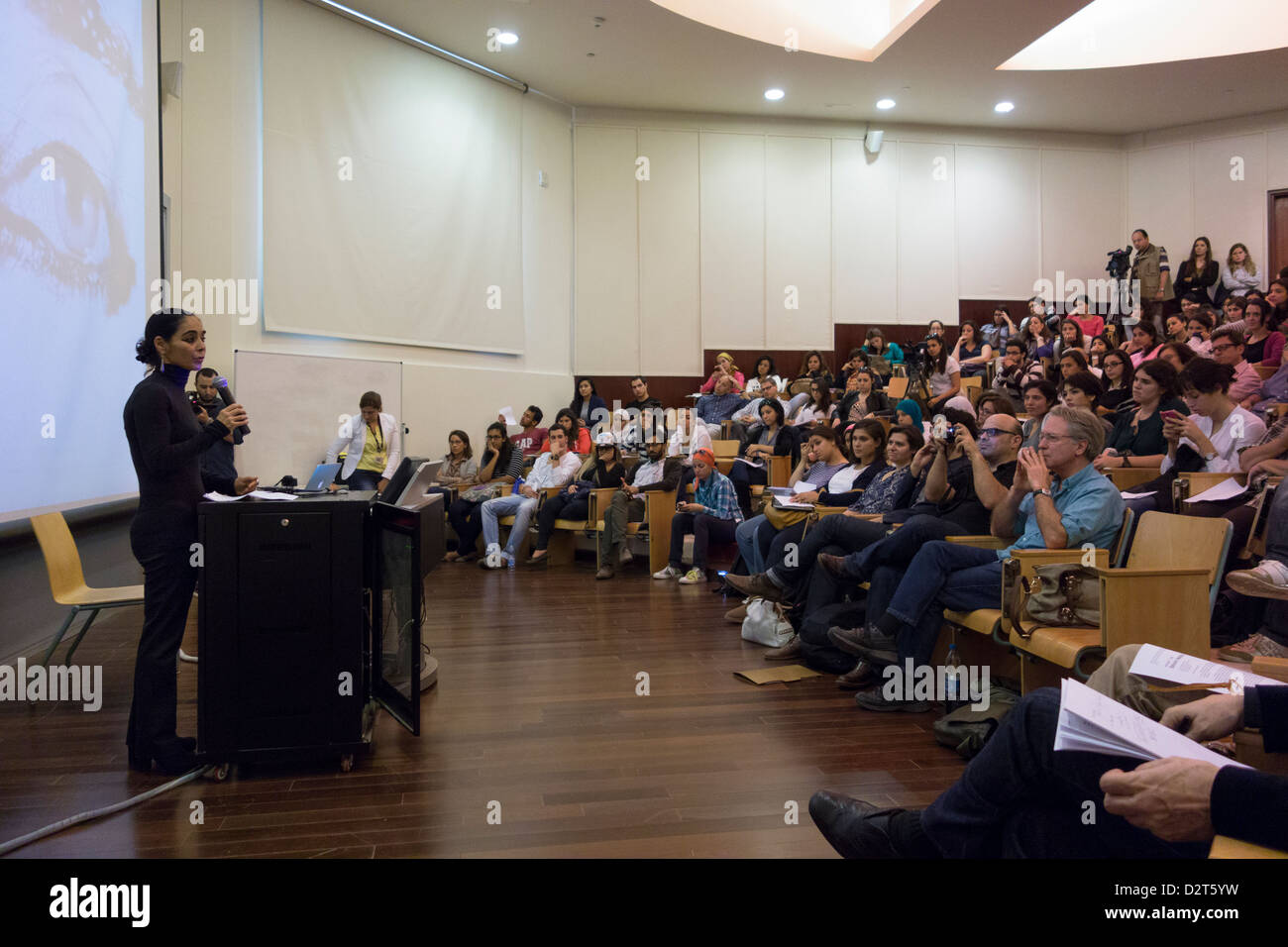 lecture by Shirin Neshat at the American University in Cairo, Egypt - Stock Image