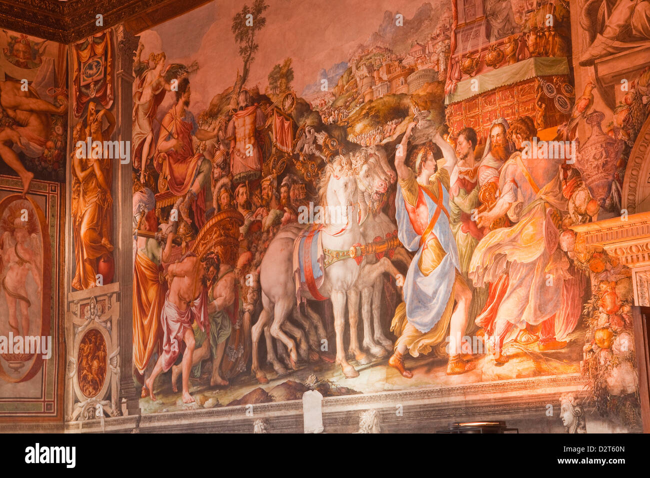 A beautiful mural in Palazzo Vecchio, UNESCO World Heritage Site, Florence, Tuscany, Italy, Europe - Stock Image