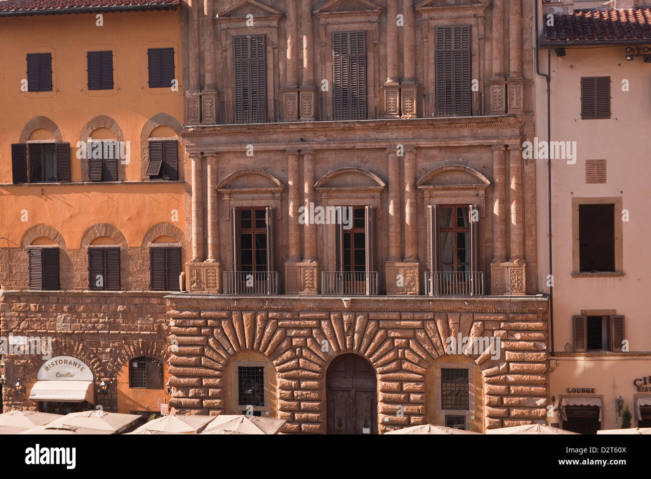 Typical building facades in Piazza della Signoria, Florence, Tuscany, Italy, Europe - Stock Image