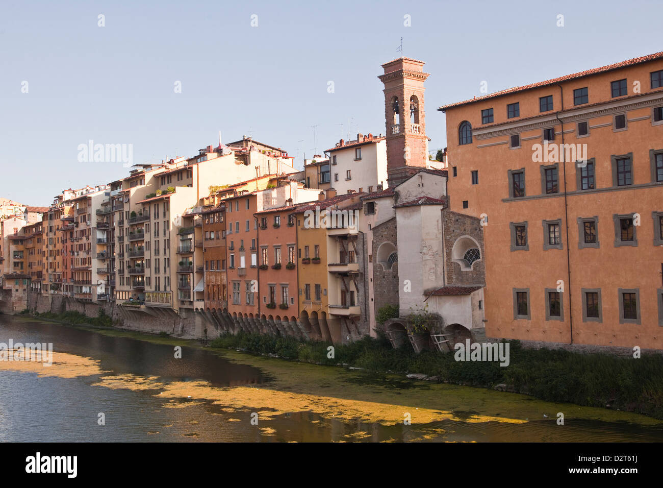 Buildings facing onto the River Arno, Florence, Tuscany, Italy, Europe - Stock Image
