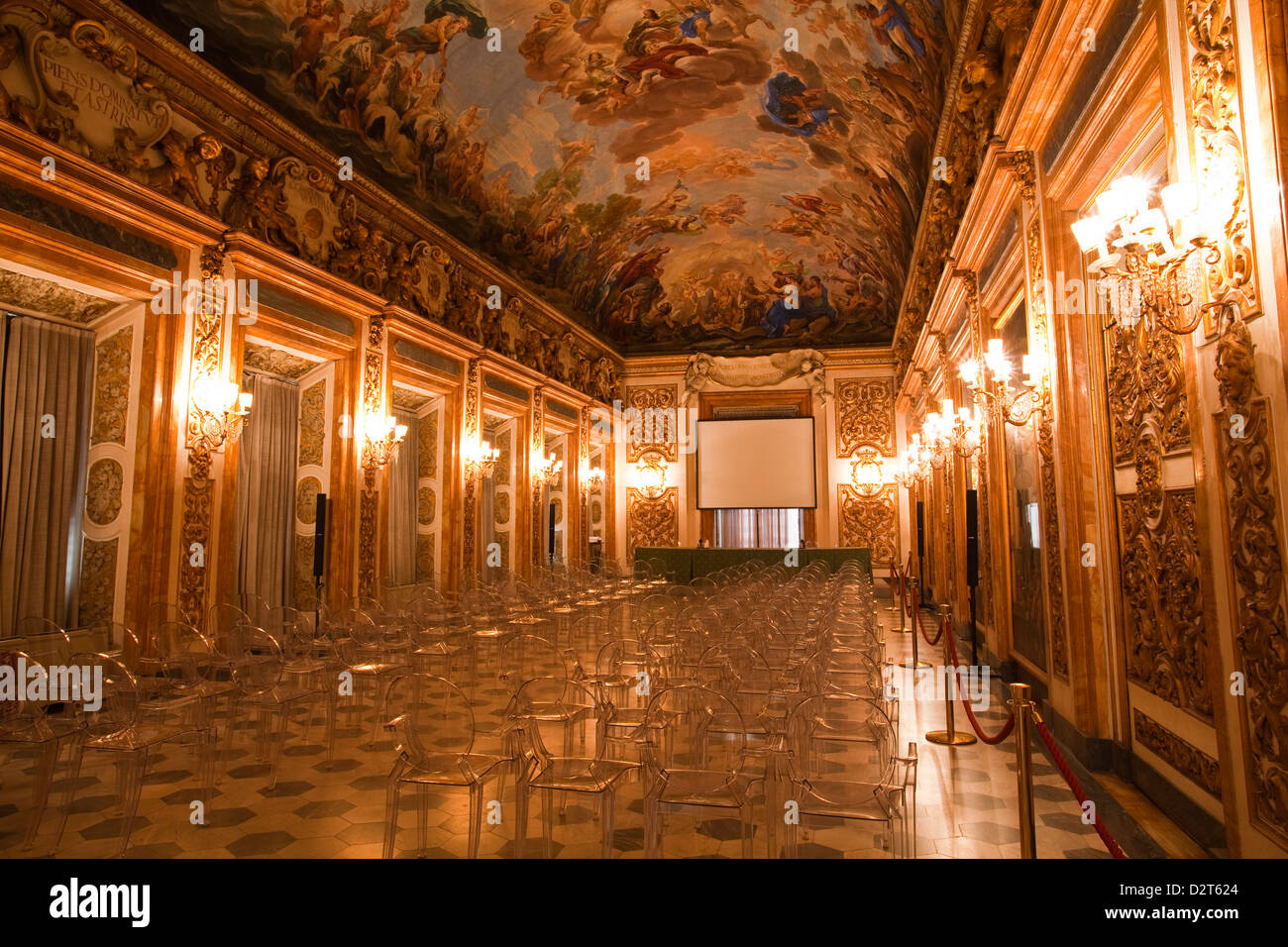 A beautifully ornate room in Palazzo Medici Riccardi, Florence, Tuscany, Italy, Europe - Stock Image
