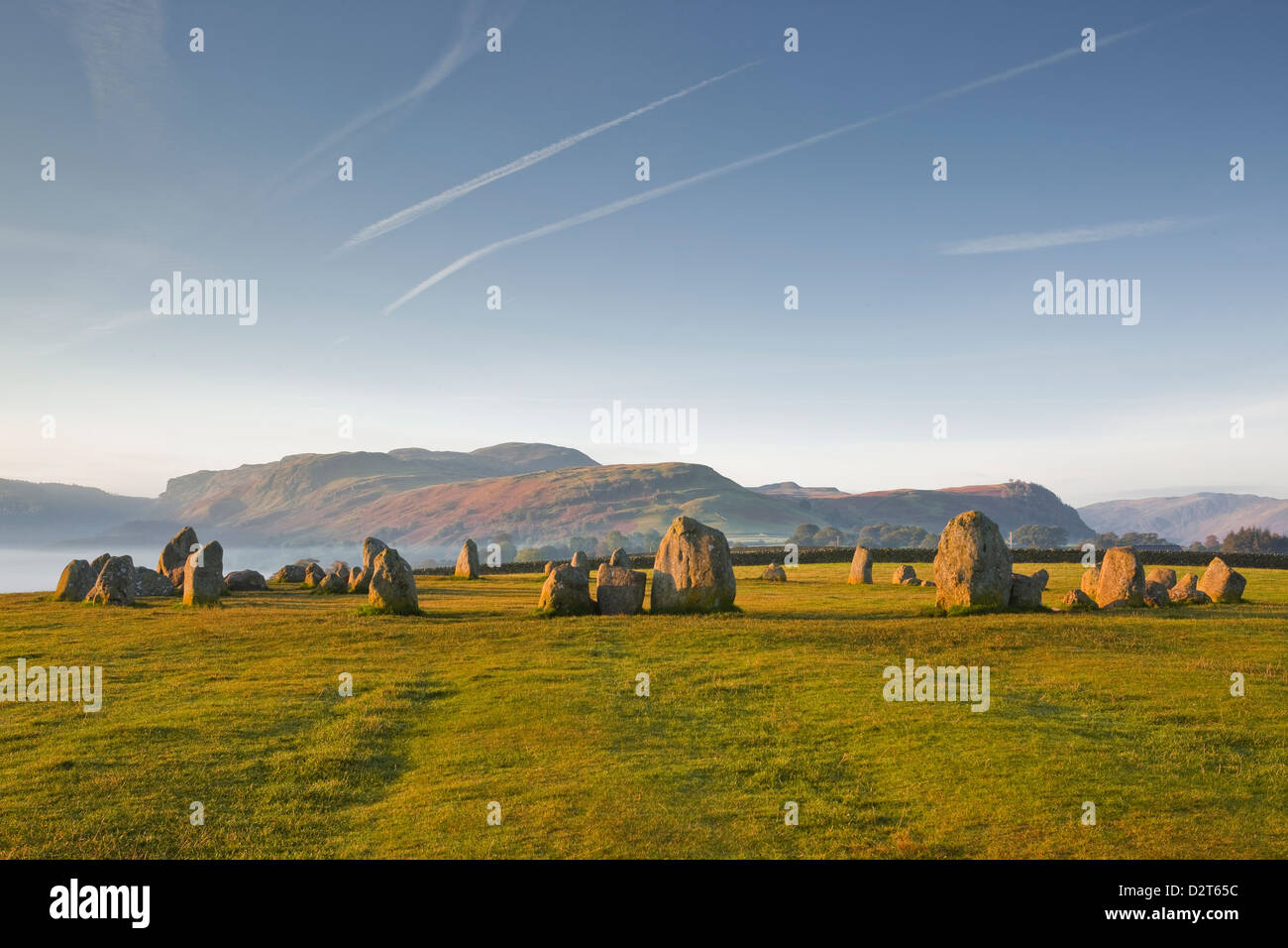 Castlerigg stone circle at dawn in the Lake District National Park, Cumbria, England, United Kingdom, Europe - Stock Image
