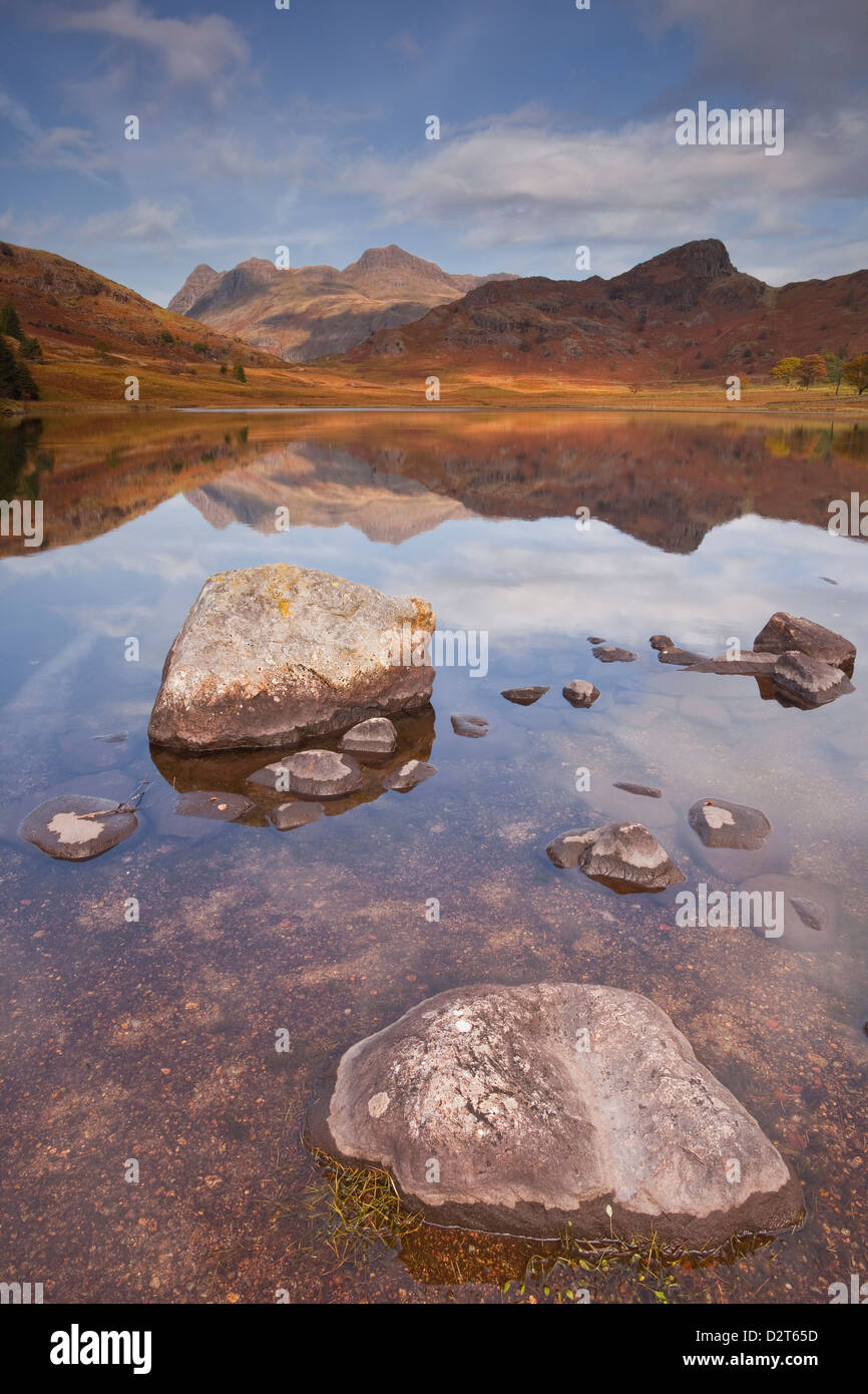 Blea Tarn and the Langdale Pikes in the Lake District National Park, Cumbria, England, United Kingdom, Europe - Stock Image