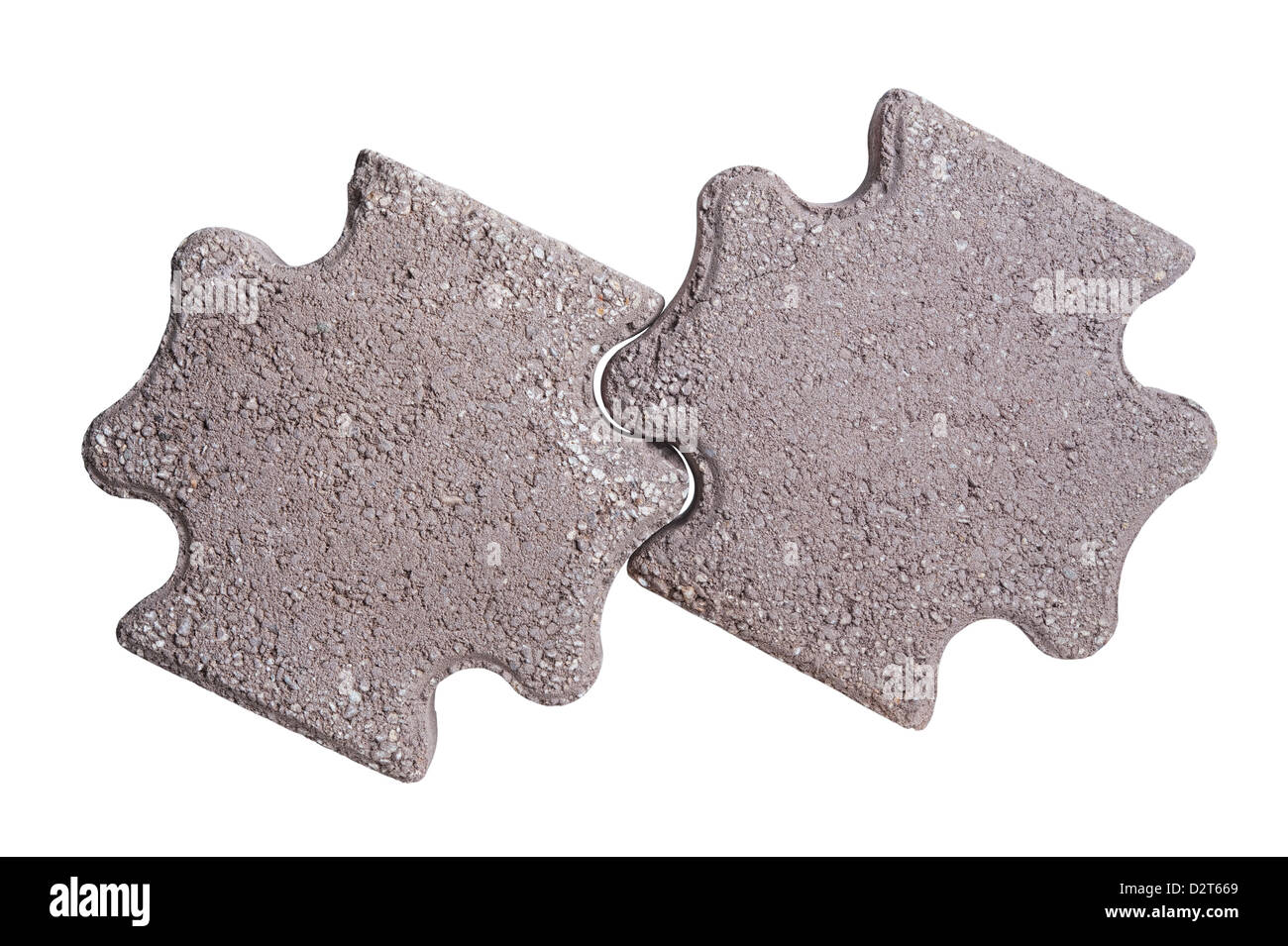 Two paving stones isolated on a white background - Stock Image